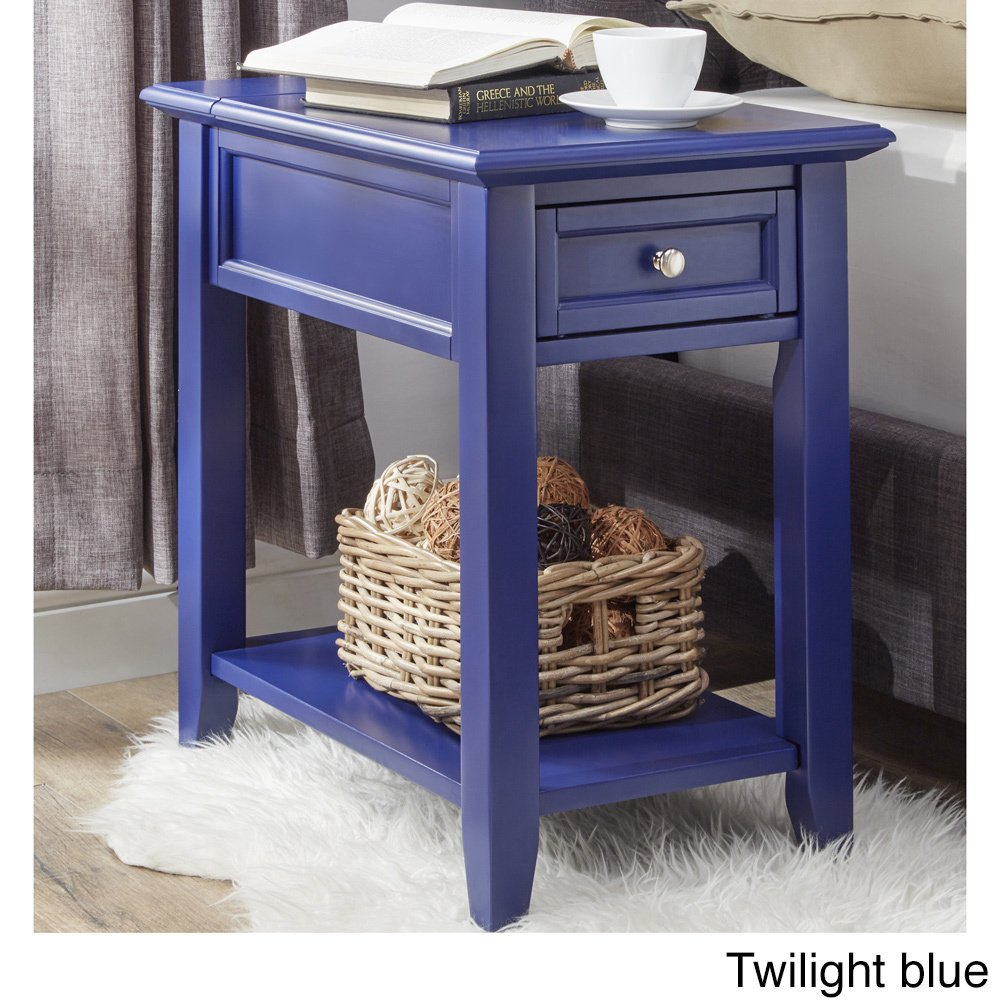 modhaus living modern wooden accent end table night tables with charging station stand hidden power strip storage drawer and shelf navy blue includes pen decorative accents for