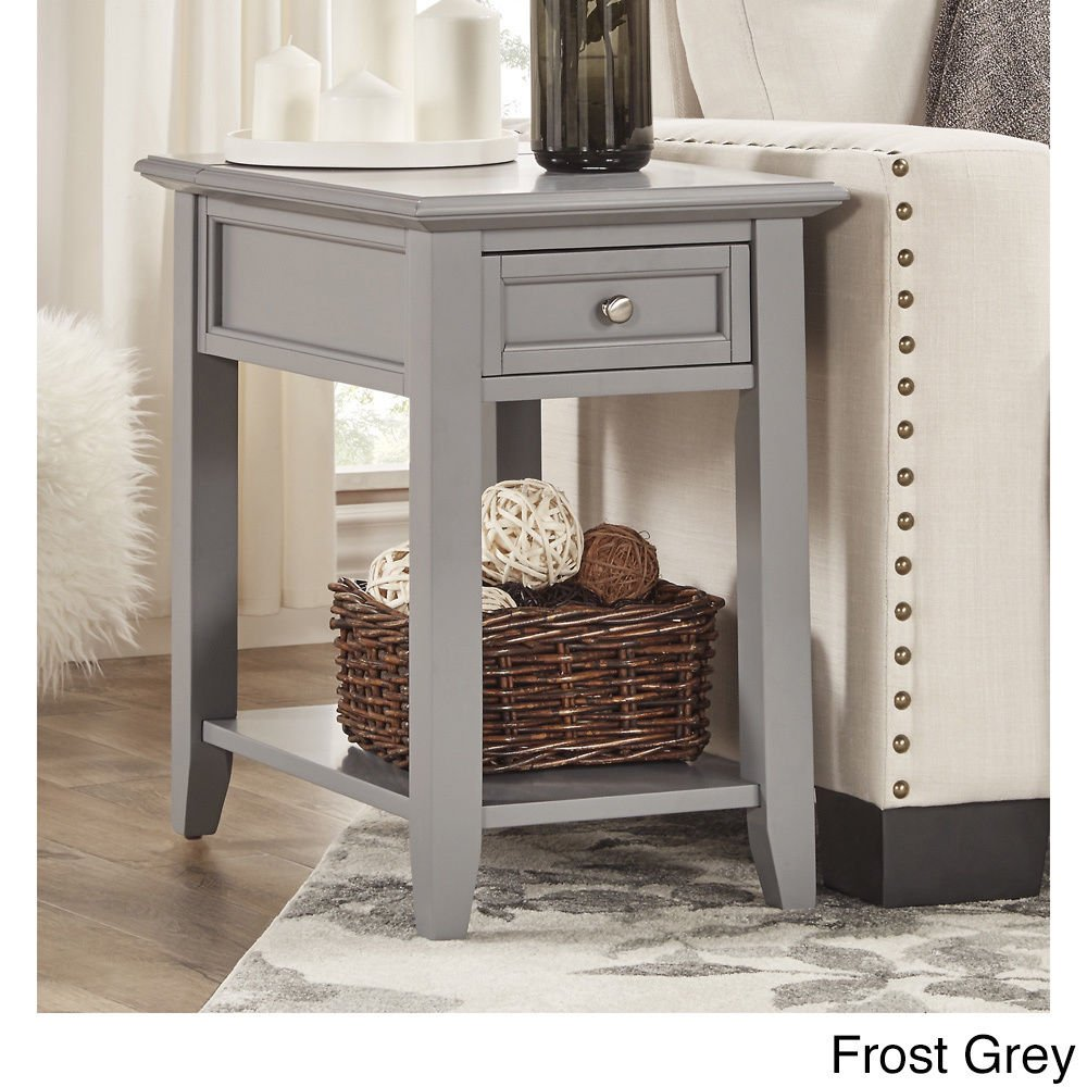 modhaus living modern wooden accent end table night with power strip stand storage drawer and shelf gray includes pen kitchen dining room tables for small spaces cloth runners