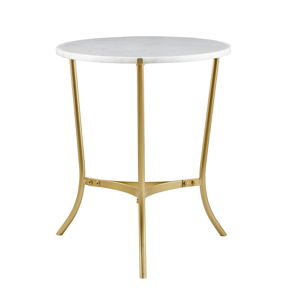 modhaus living sleek inch round white marble top gold igvoul accent table metal side end includes pen kitchen dining large wall clock distressed blue oval half circle bathroom