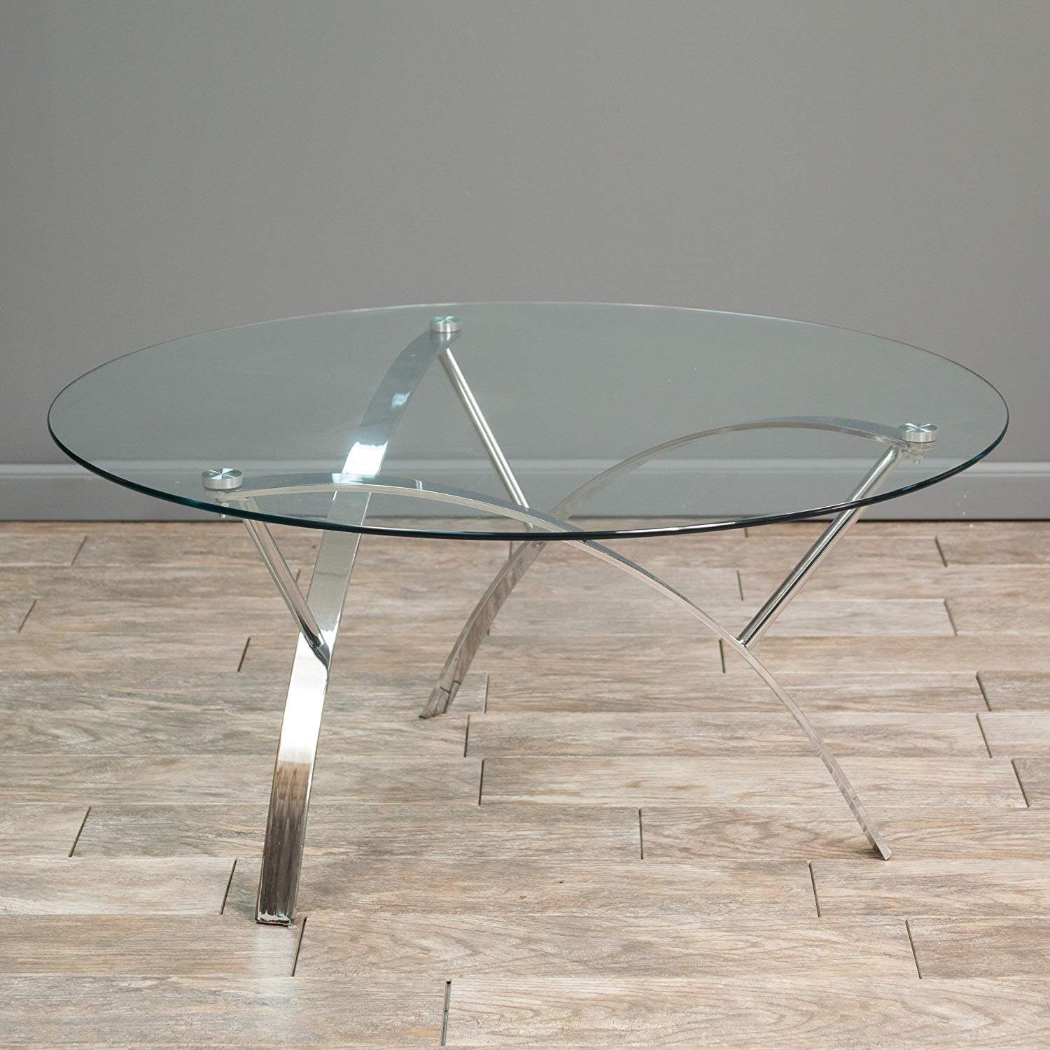 modhaus modern art deco round glass style chrome silver accent table gray metal coffee with top includes living pen kitchen dining end shelf wall furniture urban chic wood foyer