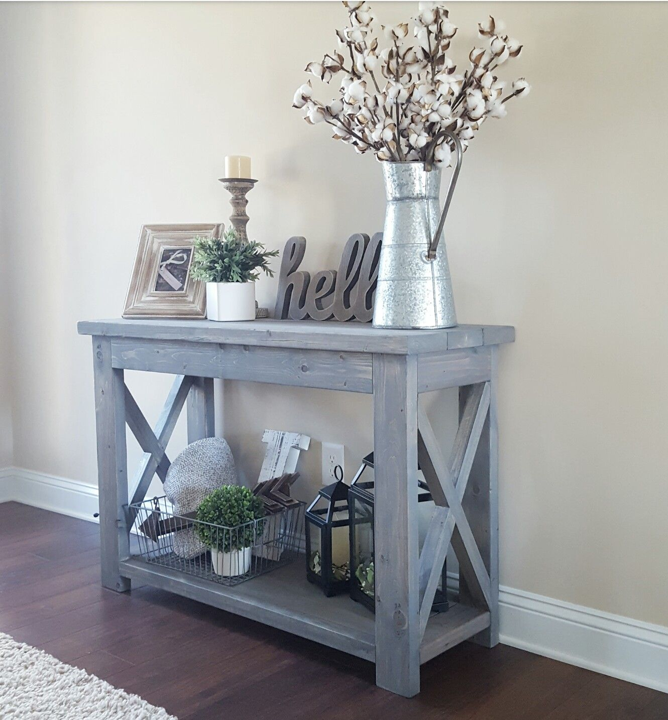 modified ana white rustic console table and used minwax classic accent gray stain cabinet legs pottery barn floor lamp trendy lamps black tables for living room drop leaf