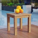 modway marina teak wood outdoor patio side table accent natural kitchen dining retro inspired furniture affordable home decor tables end counter height with stools off white very 150x150