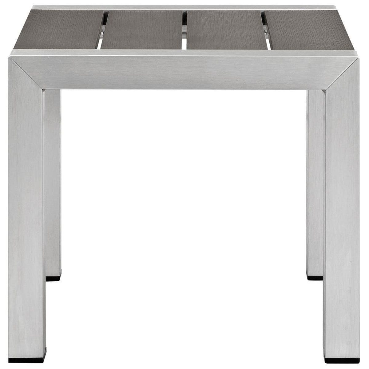 modway shore outdoor patio aluminum side table silver gray eei slv gry corner chests cabinets the pier furniture gold mirrored accent chrome desk legs short sofa hampton bay