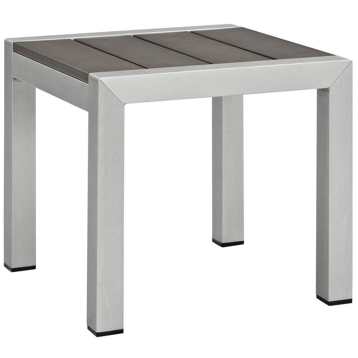 modway shore outdoor patio aluminum side table silver gray eei slv gry round accent white bar high end lamps for living room vintage metal legs clothes organiser wood glass top