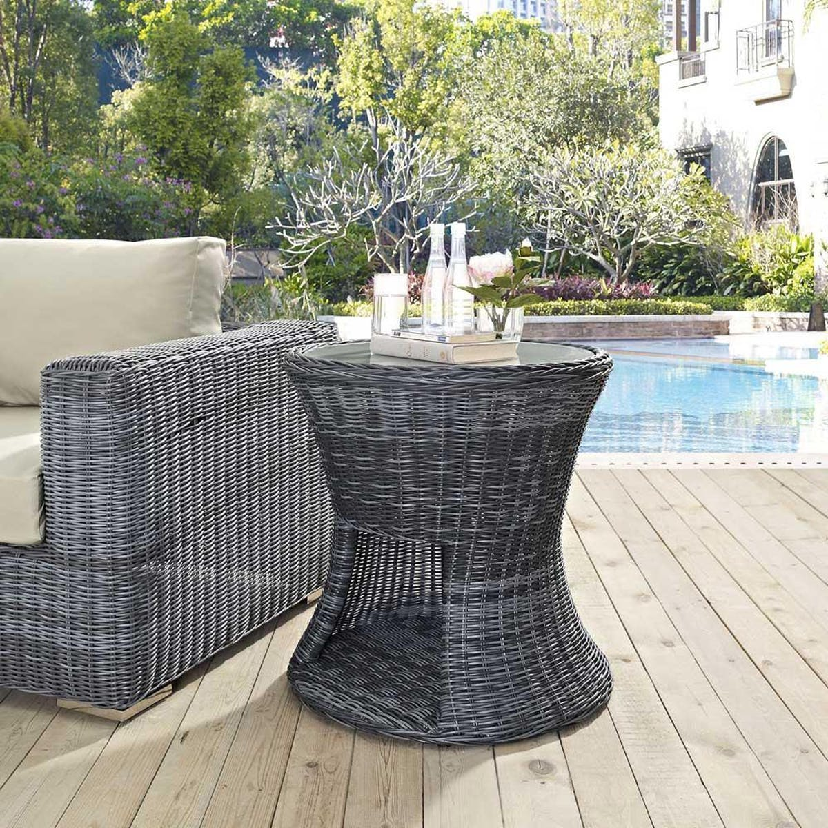 modway summon outdoor patio side table gray modish eei gry ryobi knoll changing dimensions door designs for rooms large pub mission style end tables hampton bay wicker furniture
