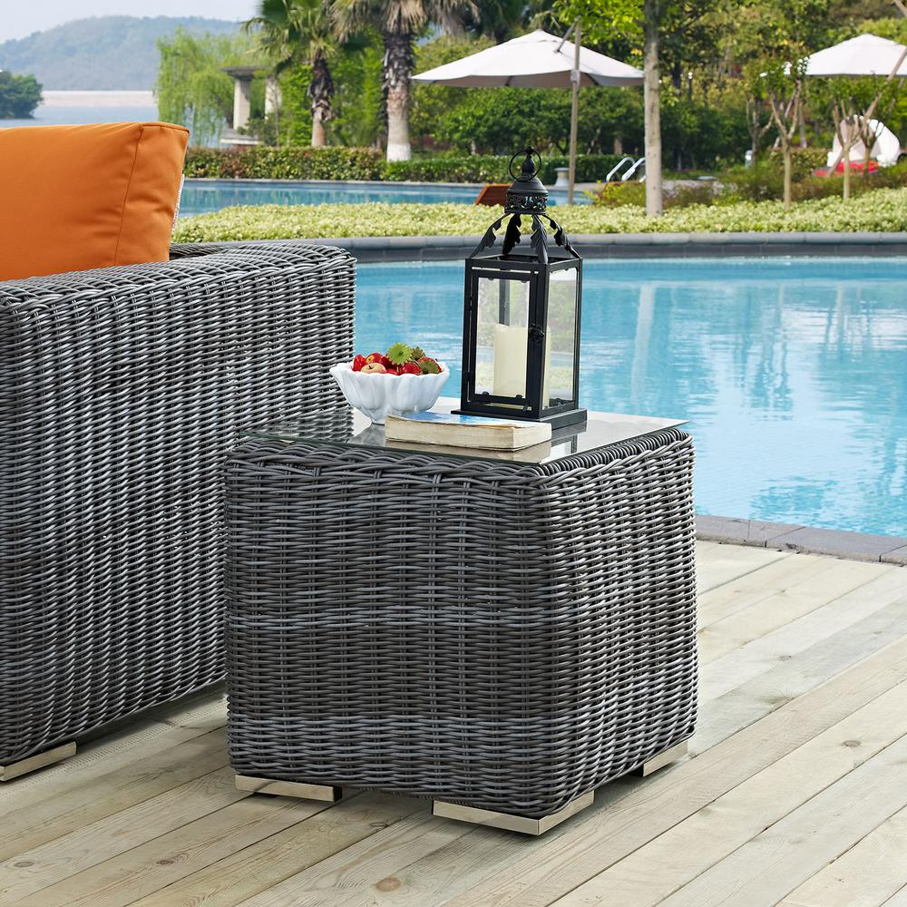 modway summon patio glass top outdoor side table gray eei tables gry kohls dishes white mirrored metal pedestal base brass coffee design colorful furniture circular stacking