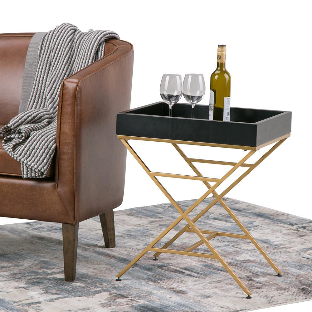moira metal wood accent table simpli home axcmtbl black gold matte and antique marble side steel trestle top breakfast outdoor coffee with umbrella hole couches edmonton round