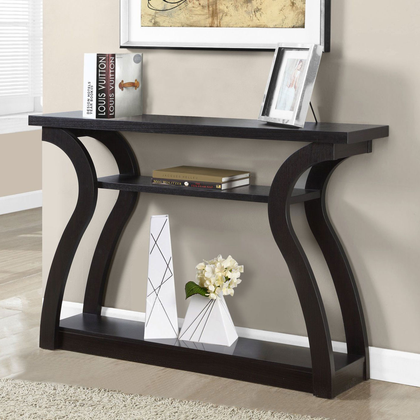 monarch accent table cappuccino hall console with drawers mirrored furniture black wrought iron patio side corner wine rack living room couches office collections copper desk lamp