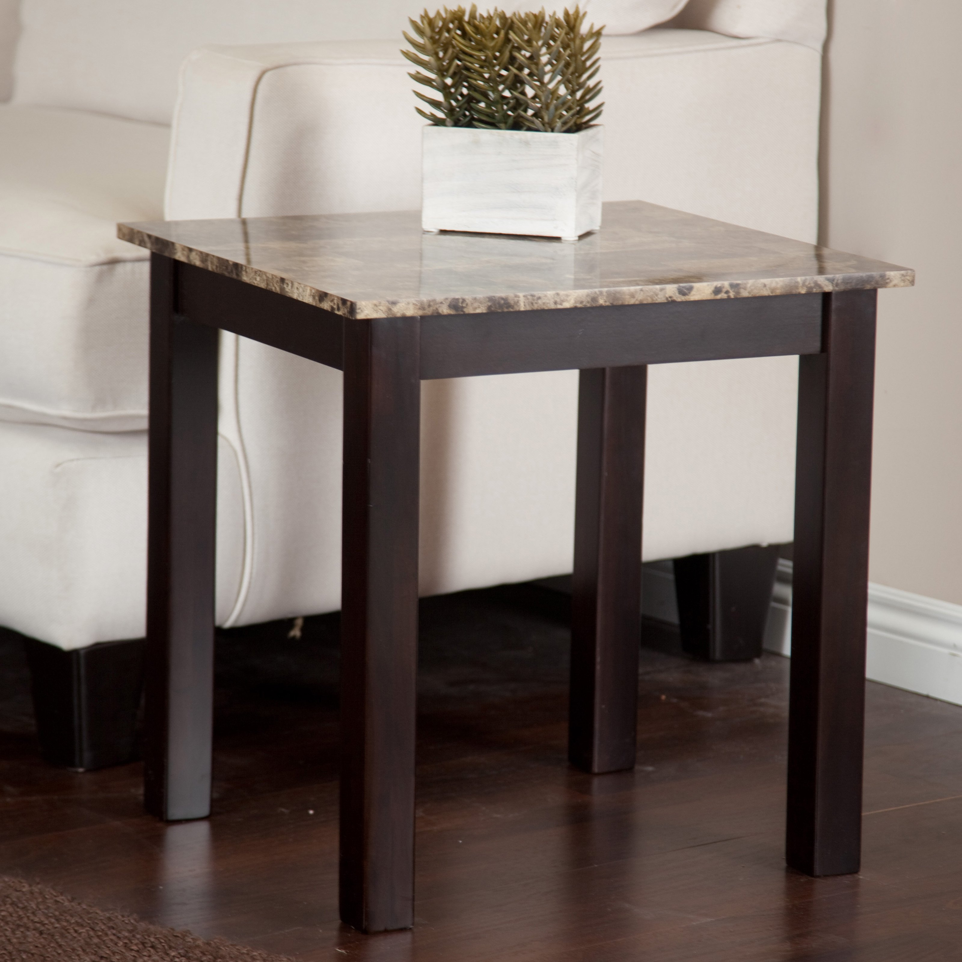 monarch accent table cappuccino marble top specialties side narrow hallway large round cover small outdoor umbrella pottery barn flower nyc black drum stacking tables square