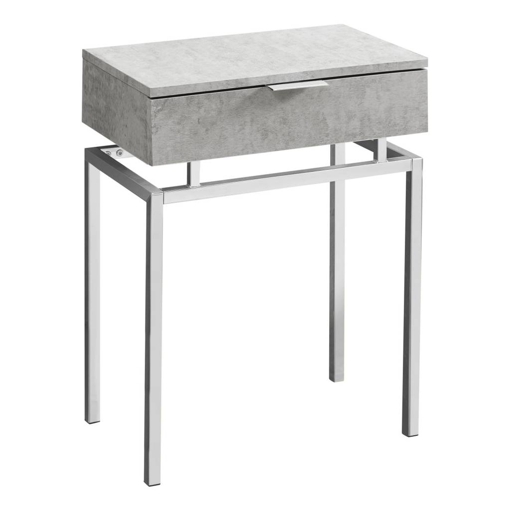monarch accent table gray cement and chrome metal grey ashley furniture high top dining vintage retro contemporary edmonton drop leaf coffee chair design classics outdoor couch