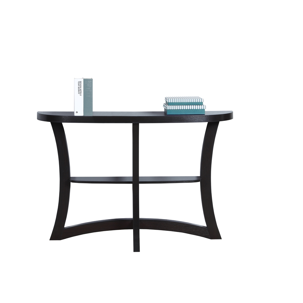 monarch half moon hall console accent table dark taupe cappuccino west elm dining room lighting chrome lamp small white gloss side tiger maple furniture ikea storage dresser