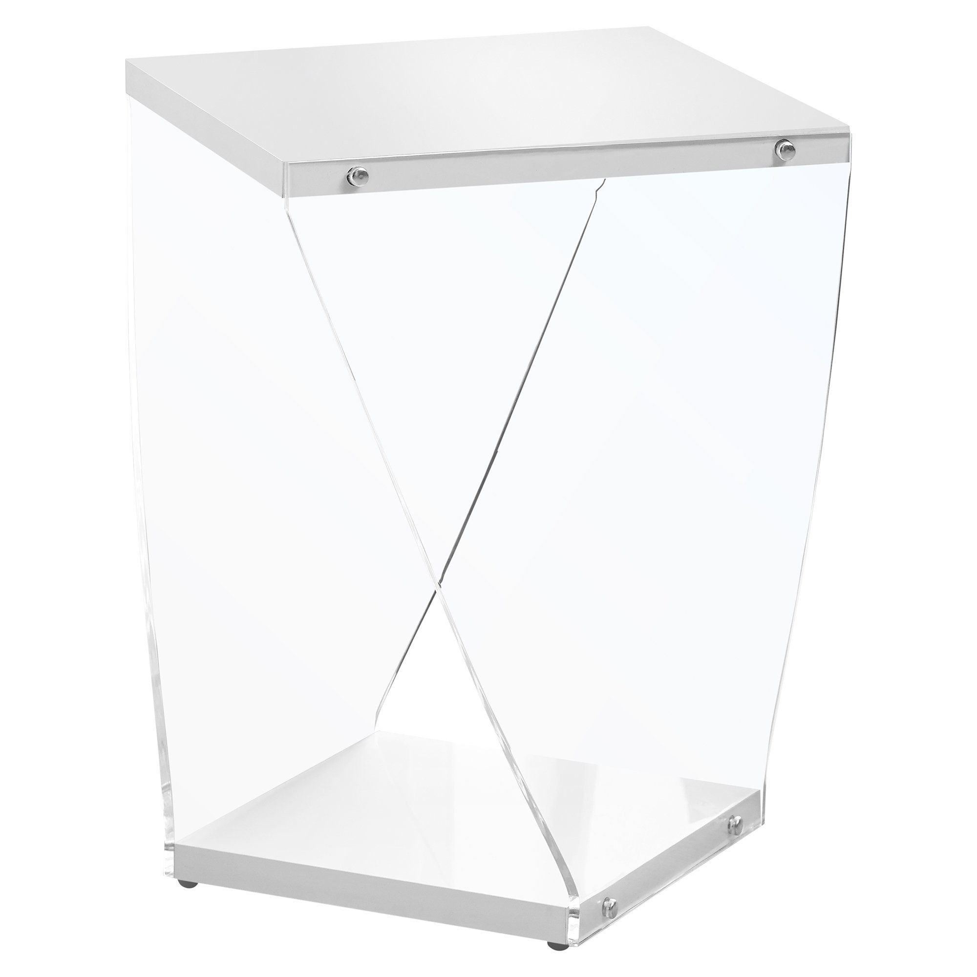 monarch mdf and acrylic accent table white clear finish furniture wellington garden chairs set ashley wood stump small patio plastic outdoor folding side porcelain vase lamp