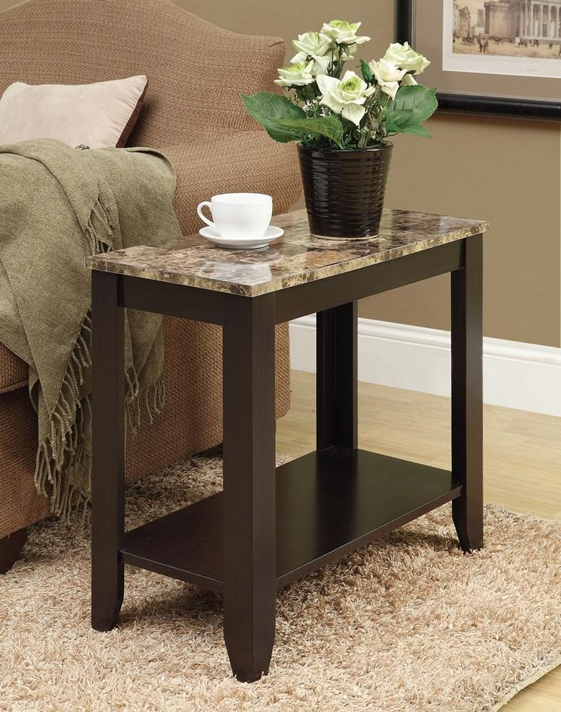 monarch specialties accent side table marble faux wood look top cappuccino kitchen dining shelf behind the couch brown metal coffee collapsible end bunnings swing set seagrass