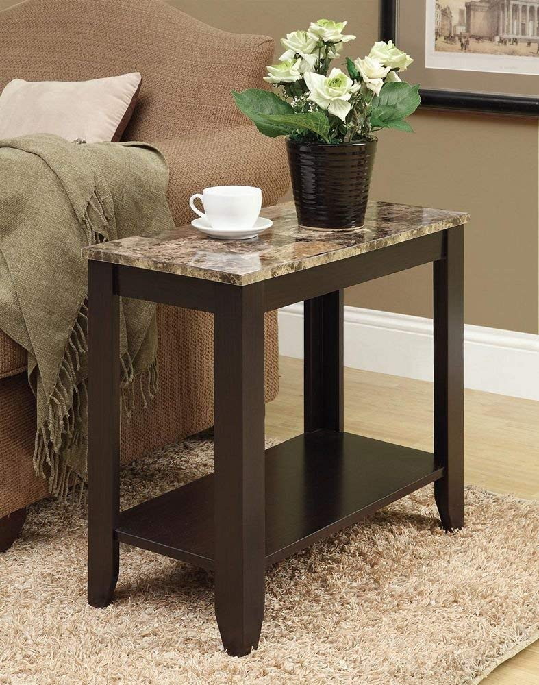 monarch specialties accent side table marble look top cappuccino kitchen dining trestle pedestal ice cooler bar garden only wine rack cabinet diy narrow console cottonwood