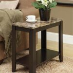 monarch specialties accent side table marble wood look top cappuccino kitchen dining gray trestle narrow console cabinet tablecloth for small round cherry coffee tables extra 150x150