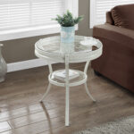 monarch specialties accent table antique white with prod tempered glass farm door metal folding side end small legs battery lamps for home console mosaic bistro patio set black 150x150