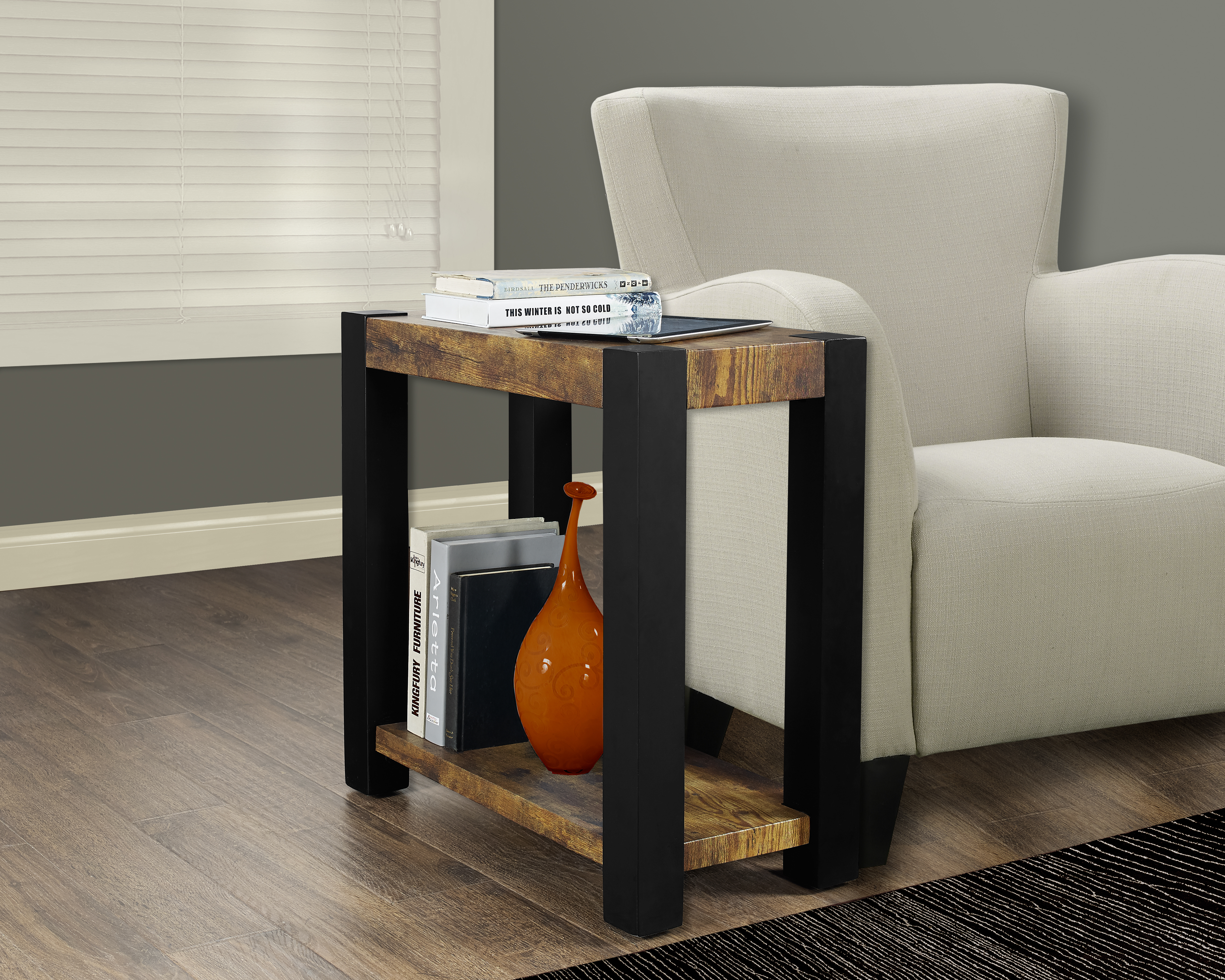 monarch specialties accent table black distressed reclaimed look top prod brown linen tablecloth mini furniture large trestle strip between carpet and tile inch round patio