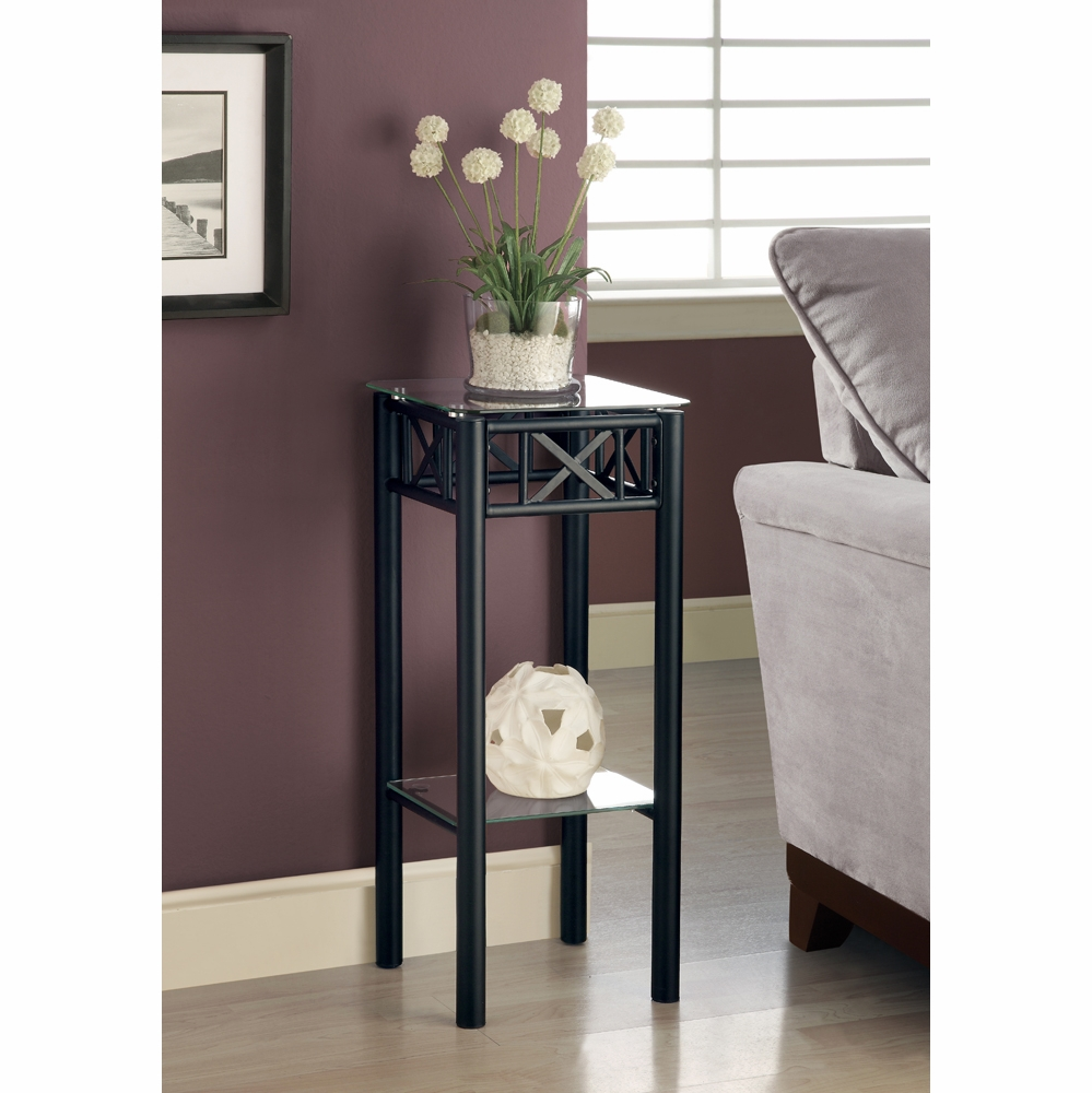 monarch specialties accent table black metal with tempered glass plant stand hover zoom wine cabinet drummer stool adjustable height coffee set centerpiece ideas for home