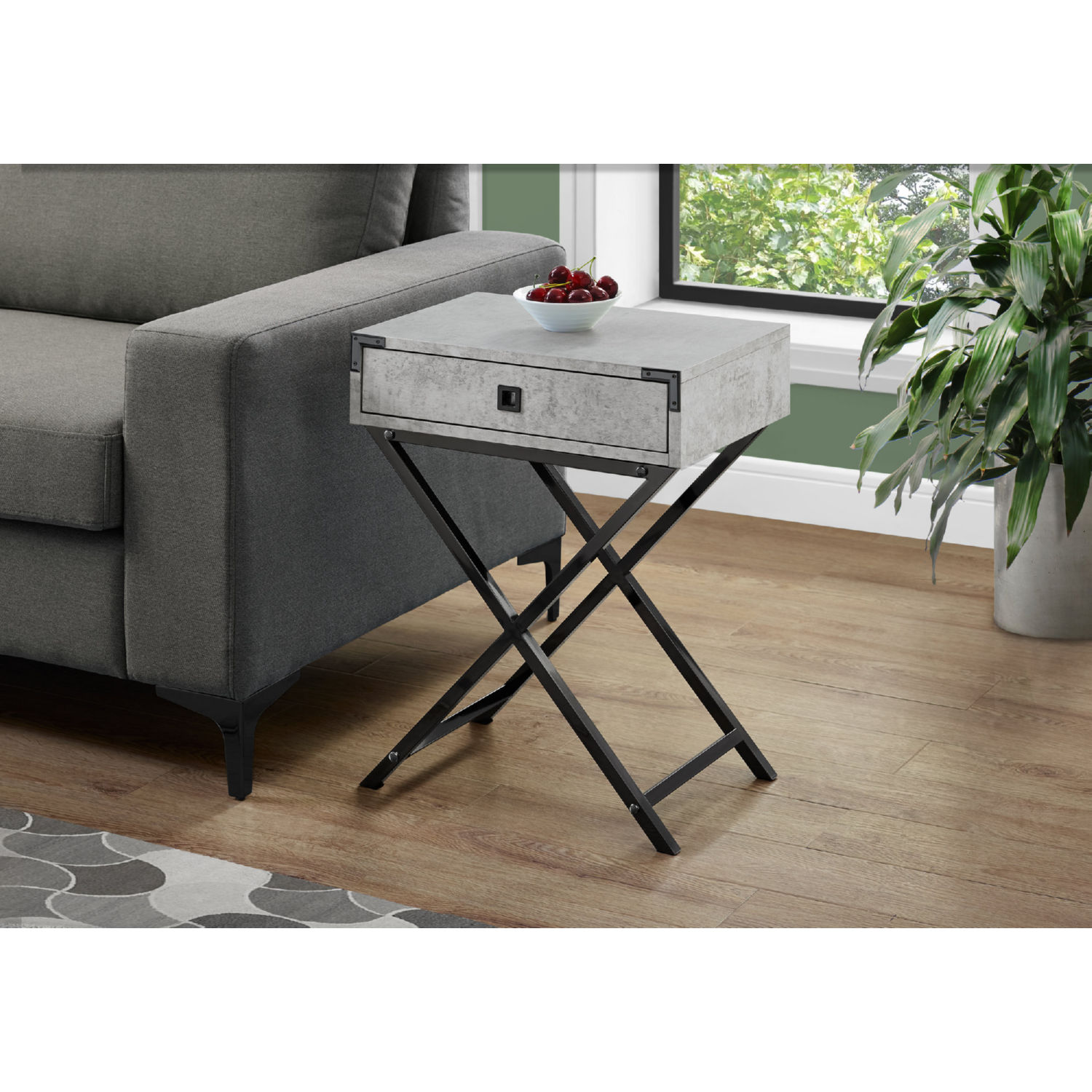 monarch specialties accent table grey cement look black nickel metal chair design classics furniture plastic cloth drum stool base gear lamp storage chest seat ikea drop leaf