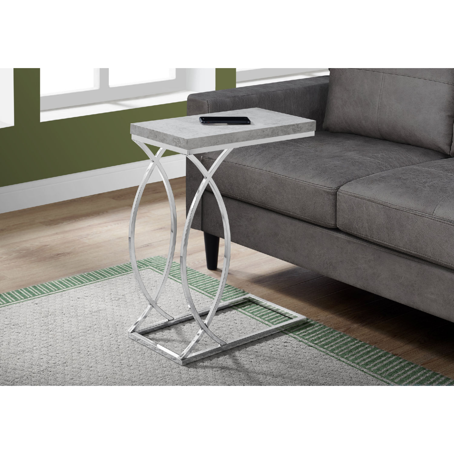monarch specialties accent table grey cement look chrome metal elm flooring marble top dining set pier end tables polished concrete coffee bistro and chairs pink crystal lamp drop