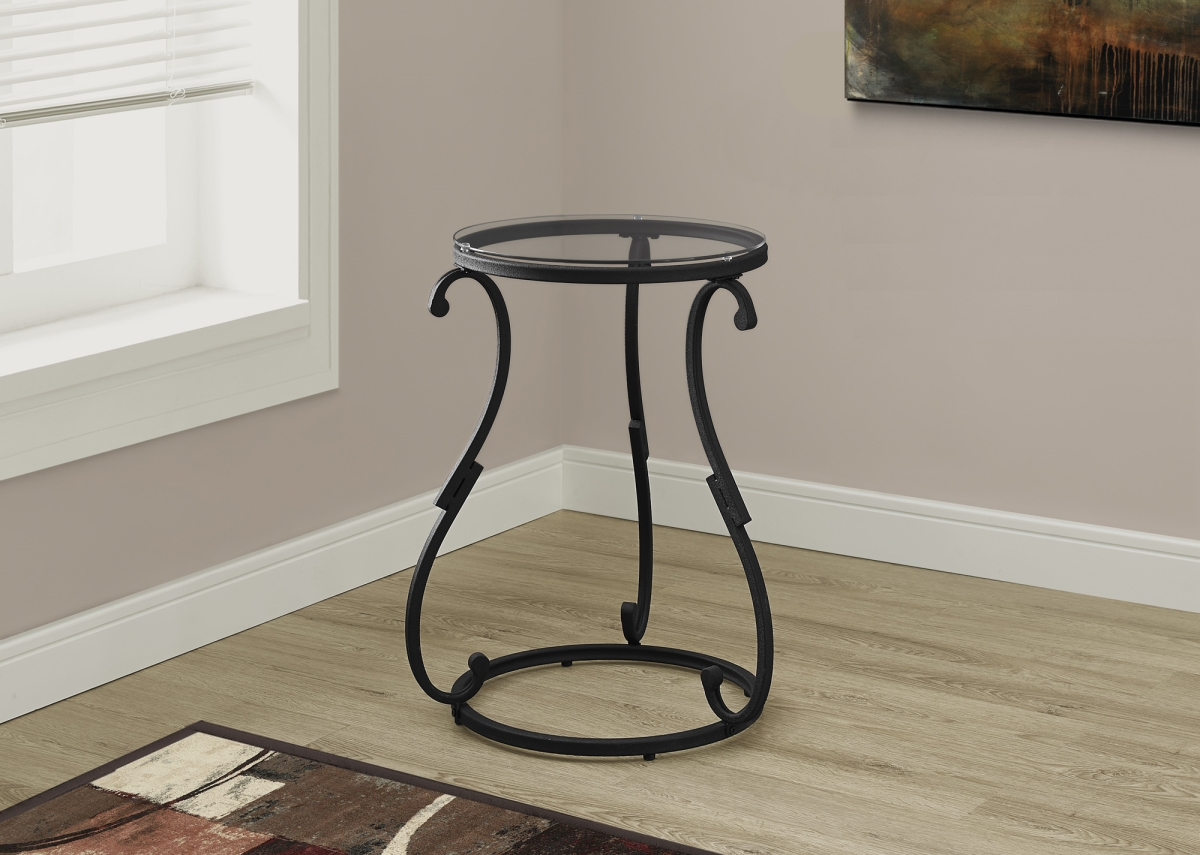 monarch specialties accent table hammered black metal with prod tempered glass aluminum patio furniture wood end plans purchase linens safavieh lighting mortar and pestle target