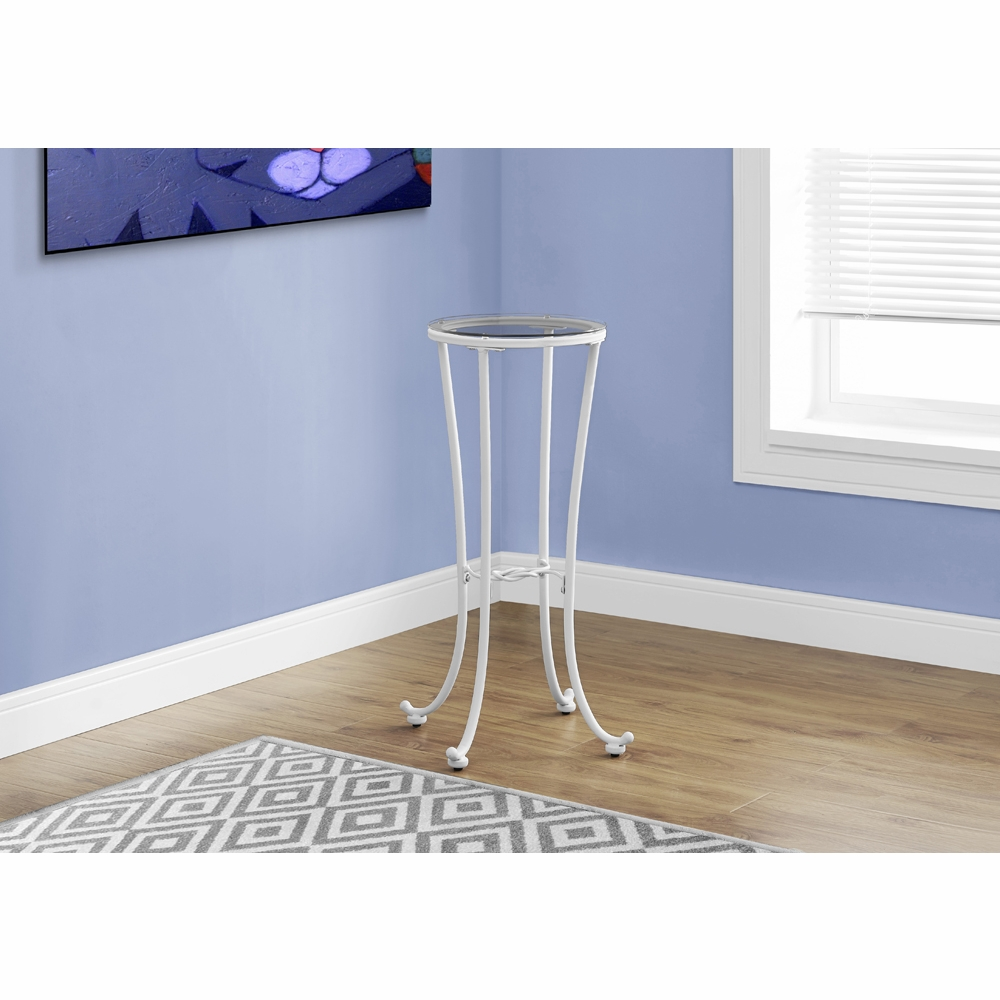 monarch specialties accent table white metal with tempered glass top side cappuccino marble hover zoom bay window curtain pole nesting coffee tables black drum drawers teak patio
