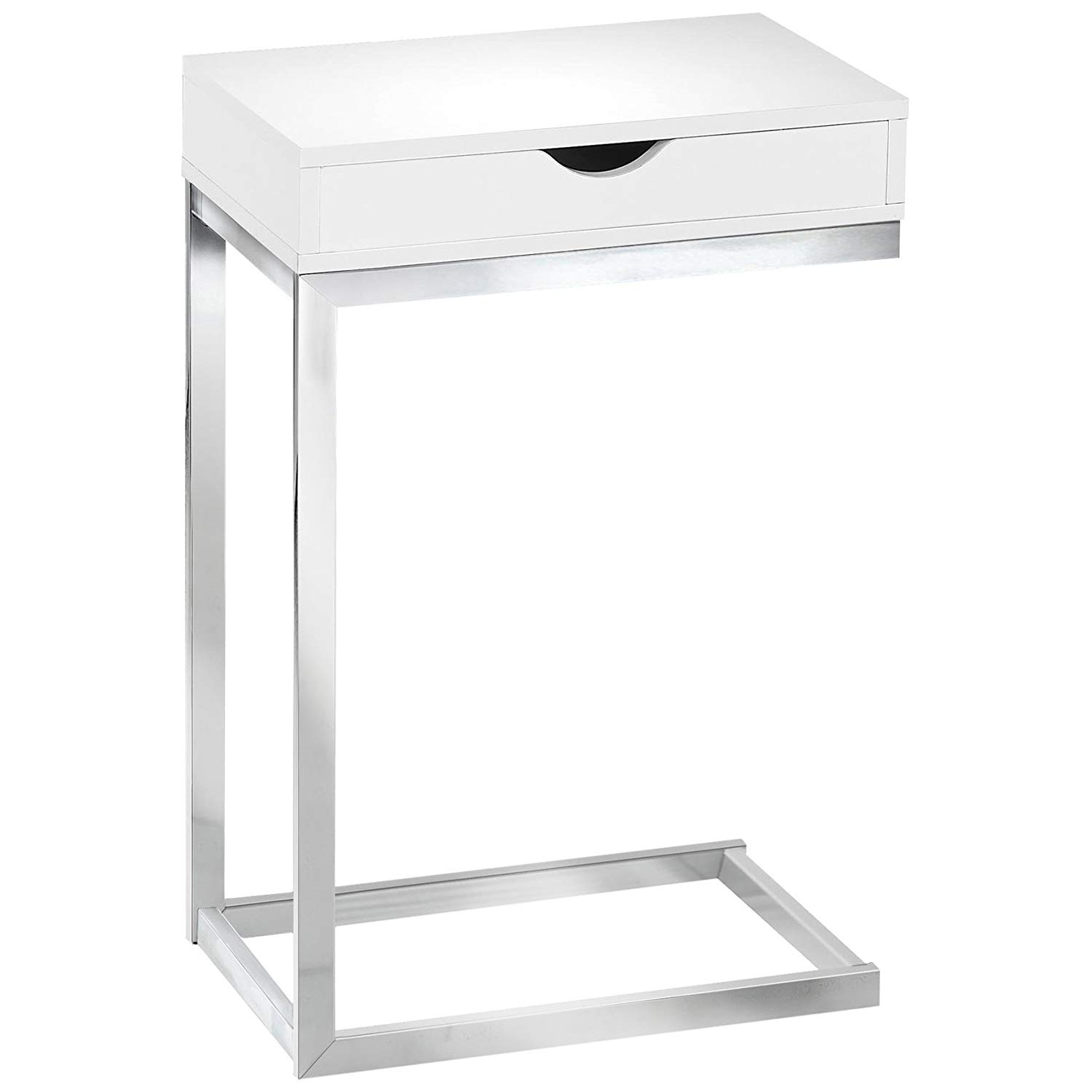 monarch specialties accent table with drawer chrome metal glass console sofa shelf glossy white kitchen dining corner end round concrete living room wall clock counter height