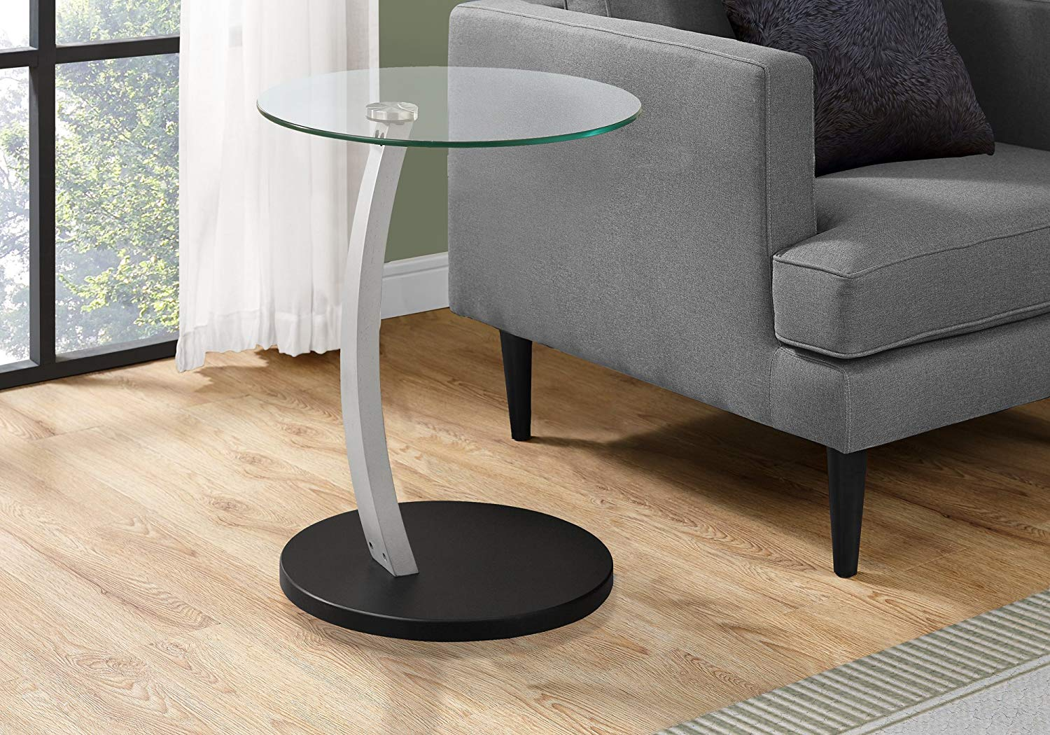 monarch specialties bentwood accent table with tempered glass black kitchen dining round metal large numeral clock area furniture small wooden for spaces uttermost mirrors patio