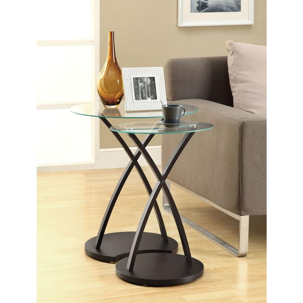 monarch specialties bentwood cappuccino piece nesting end table tables accent with tempered glass bedroom lamp sets uttermost mirrors small round mirror gray tablecloth foyer