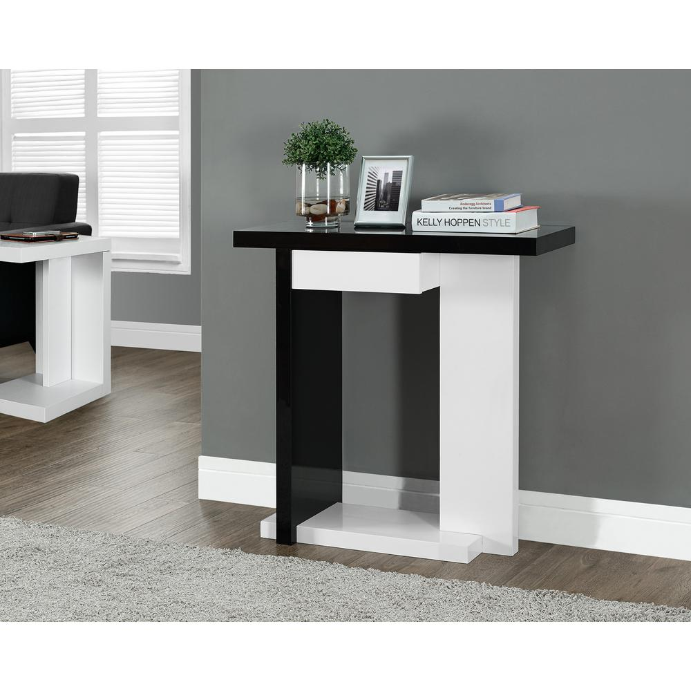 monarch specialties black and white console table the home tables hall accent inch desk with drawers target coffee end mirrored metal dining room chairs bunnings cane folding mini