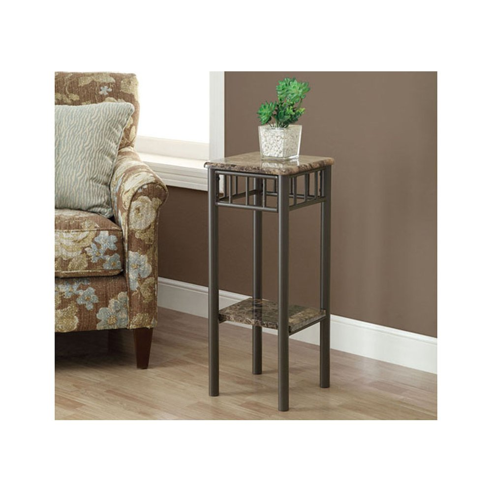 monarch specialties bronze metal and cappuccino marble top accent side table plant stand kitchen dining astoria patio furniture outdoor wicker chairs sets clearance nesting