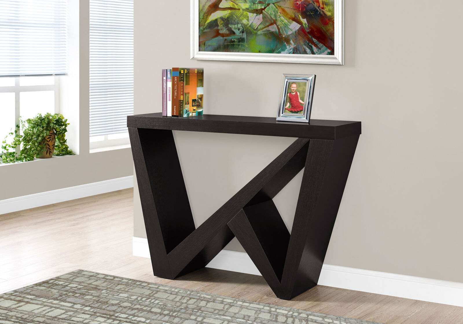 monarch specialties cappuccino hall console accent table modern barn door side lamps for living room extra long tall tables stands wooden stand threshold windham storage cabinet