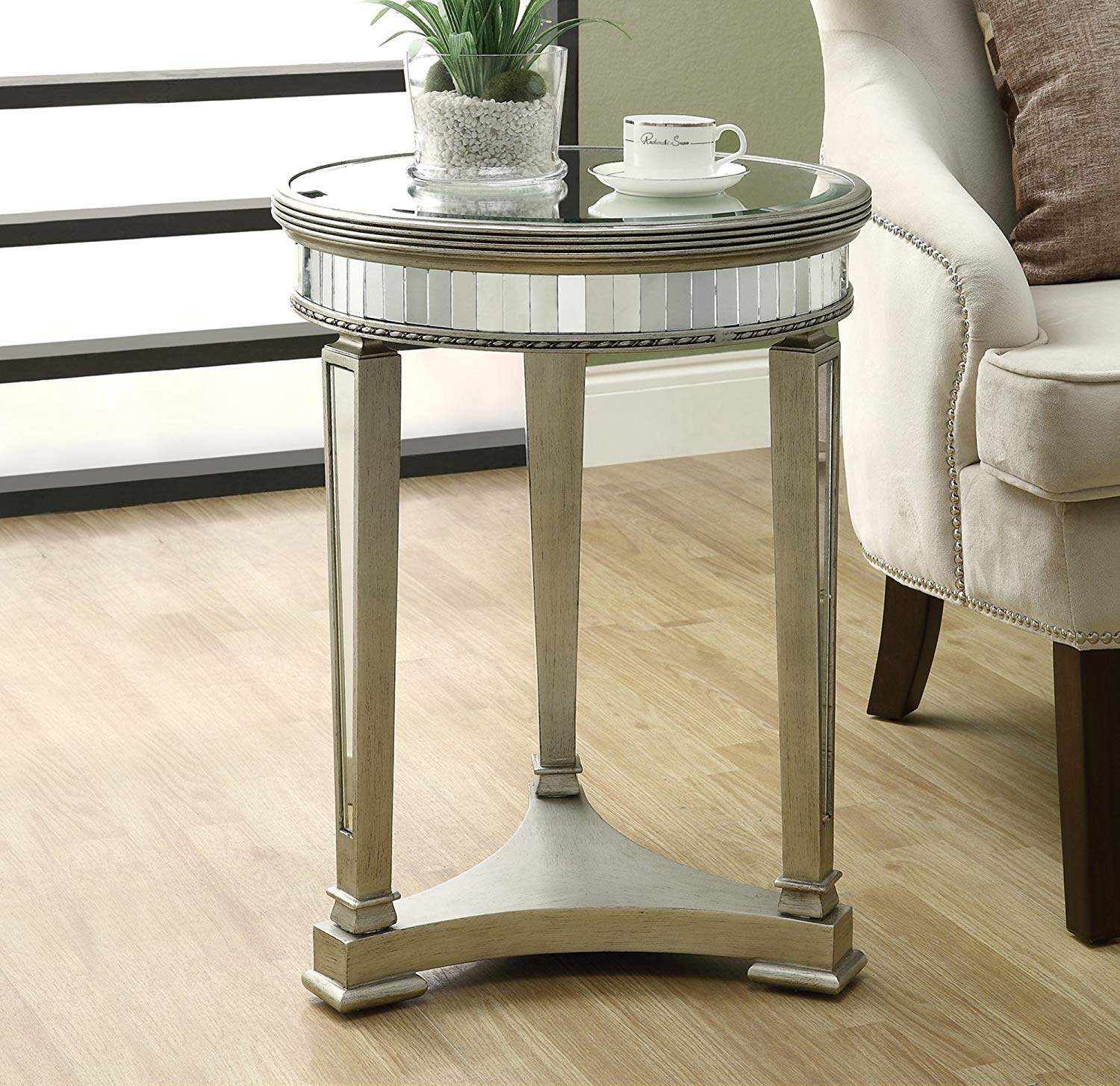 monarch specialties diameter accent table inch mirage mirrored kitchen dining bunnings garden furniture round white tablecloth home goods coffee stained glass floor lamp shades