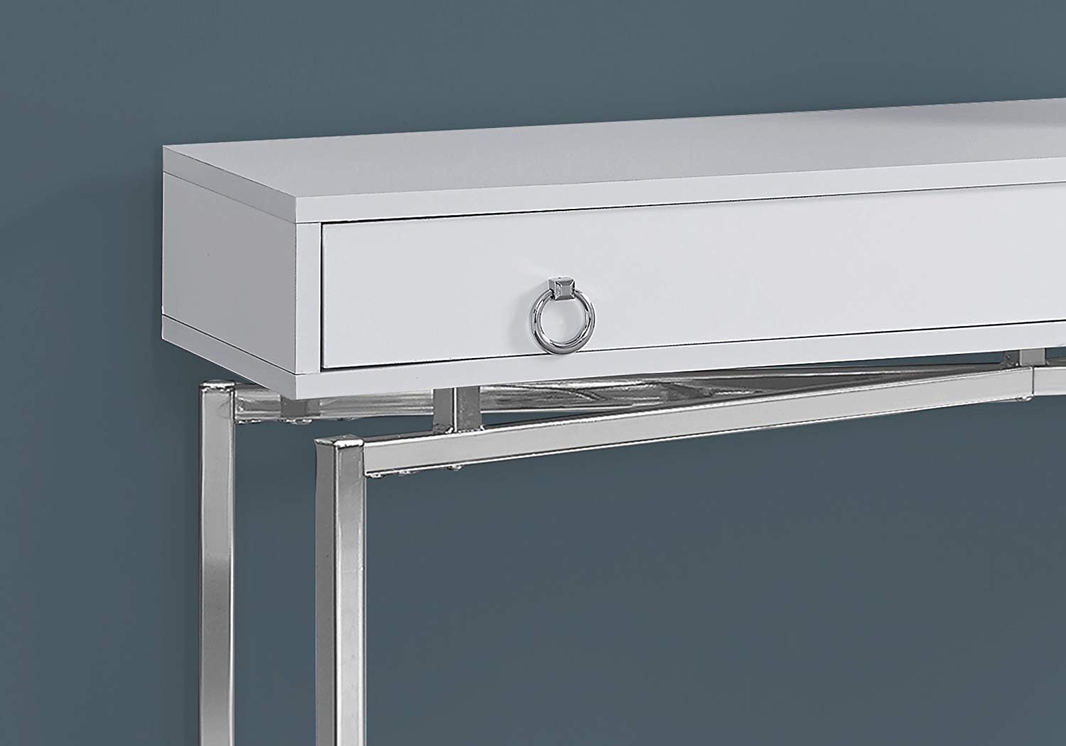 monarch specialties glossy white chrome hall console accent table hutch nesting dining side lamps for living room mirrored coffee office storage cabinets with usb patio depot sofa