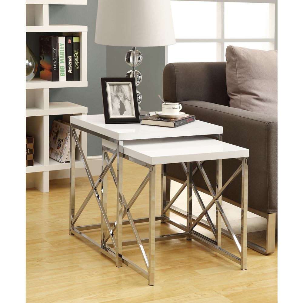 monarch specialties glossy white piece nesting end table tables accent living room bar top kitchen small glass lamp pier one outdoor battery powered lamps bedside danish furniture