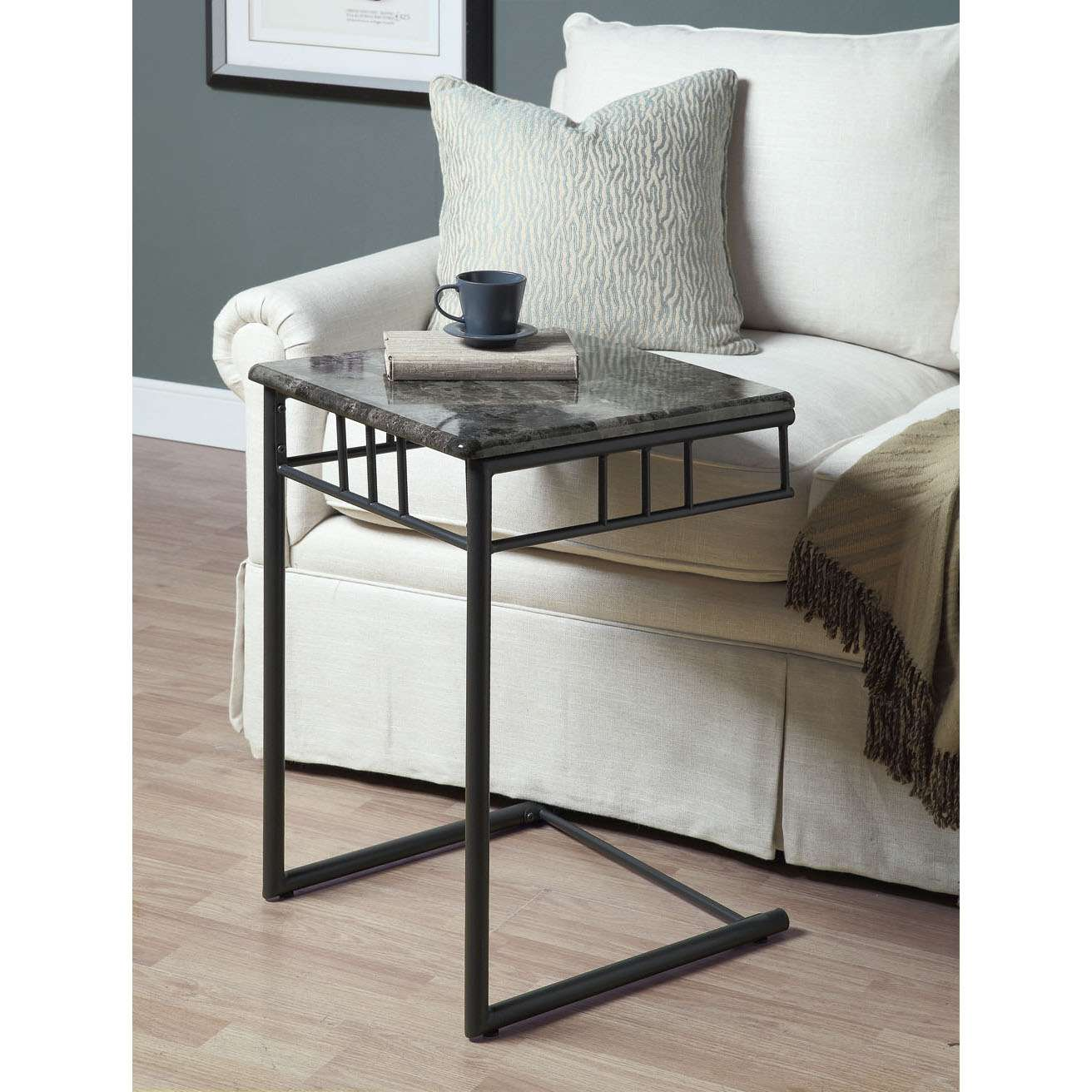 monarch specialties gray marble top accent table charcoal metal side cappuccino finish pottery barn flower nesting occasional tables battery operated lights with remote narrow