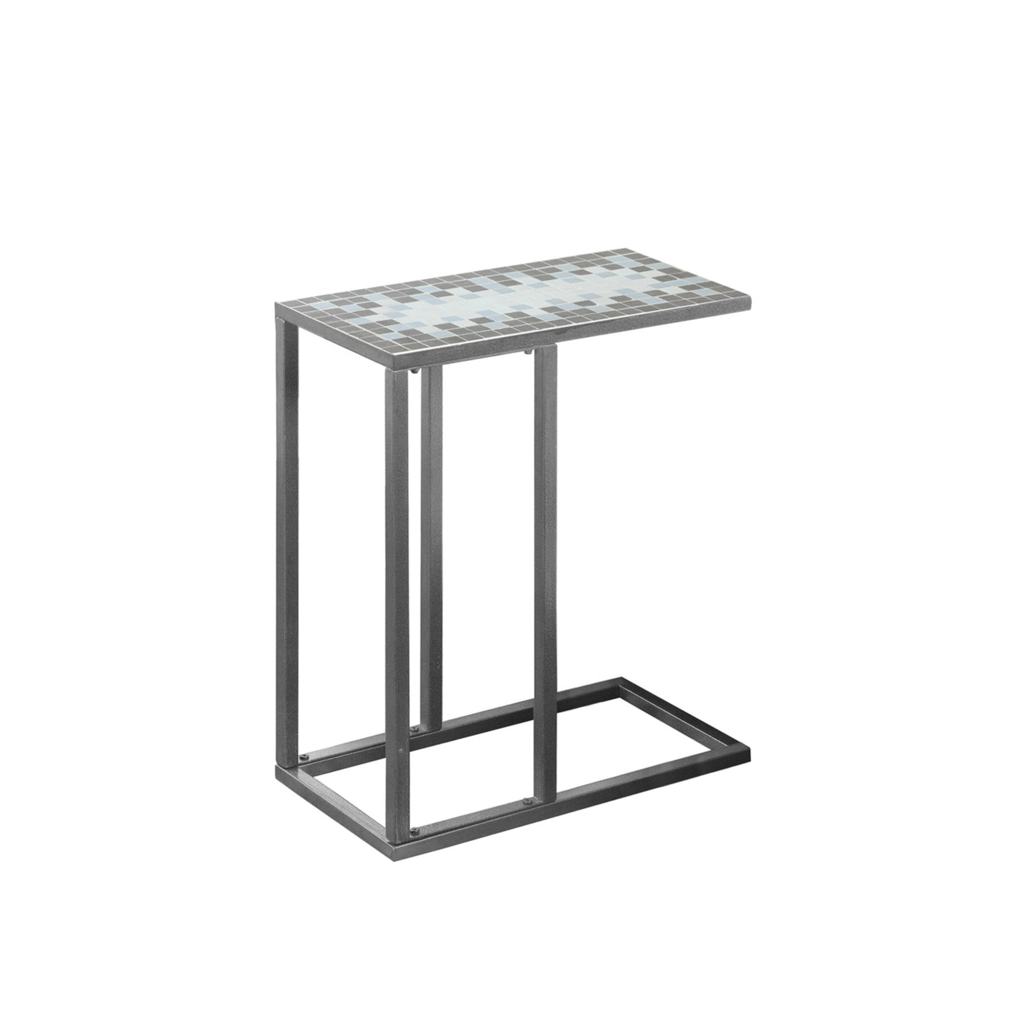 monarch specialties grey blue metal accent snack table the classy home mnc white and bedside small wooden with drawers high back dining chairs large marble top coffee floor