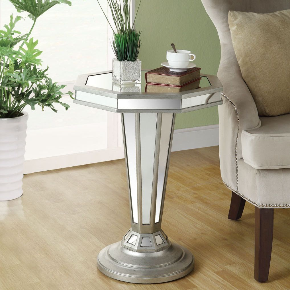 monarch specialties inc mirrored end table vanessa adamo with mirror accent octagon shape pedestal ping great coffee sofa tables inch console bunnings outdoor lounge settings wall