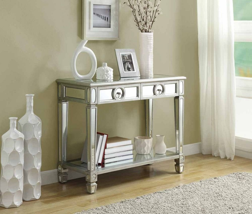 monarch specialties length sofa console table mirrored accent with drawer kitchen dining real marble coffee wood trestle set knobs and pulls box small black telephone ethan allen