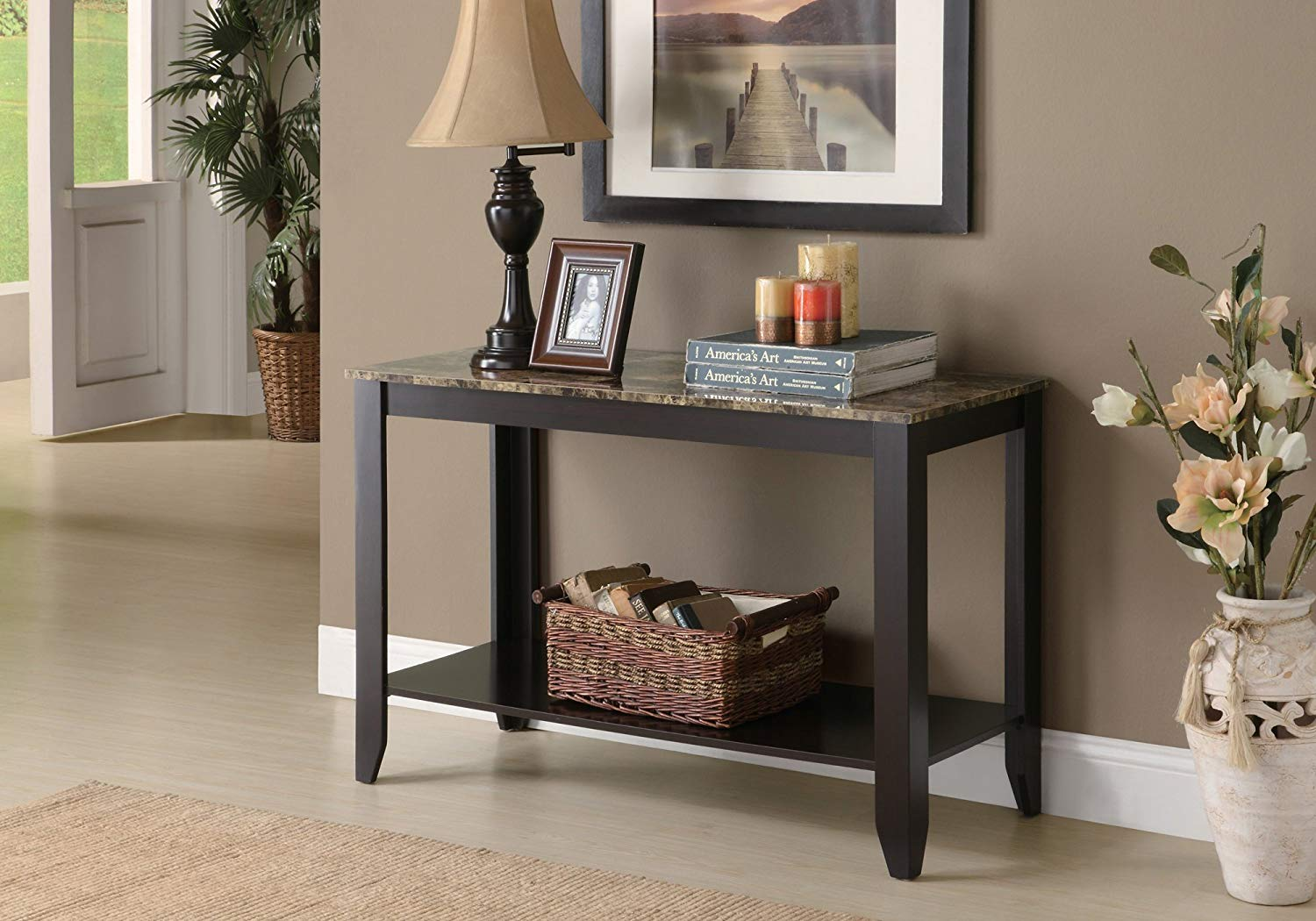 monarch specialties marble look top sofa console table accent side cappuccino inch kitchen dining outdoor wicker chairs country style furniture glass nesting coffee tables white