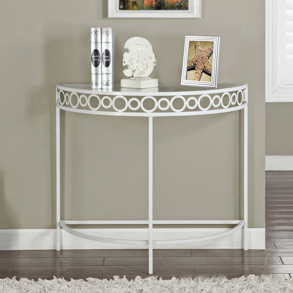 monarch specialties metal hall console accent white table kitchen dining under nightstand furniture antique farmhouse room small nautical lamps wood and mirrored bedside living