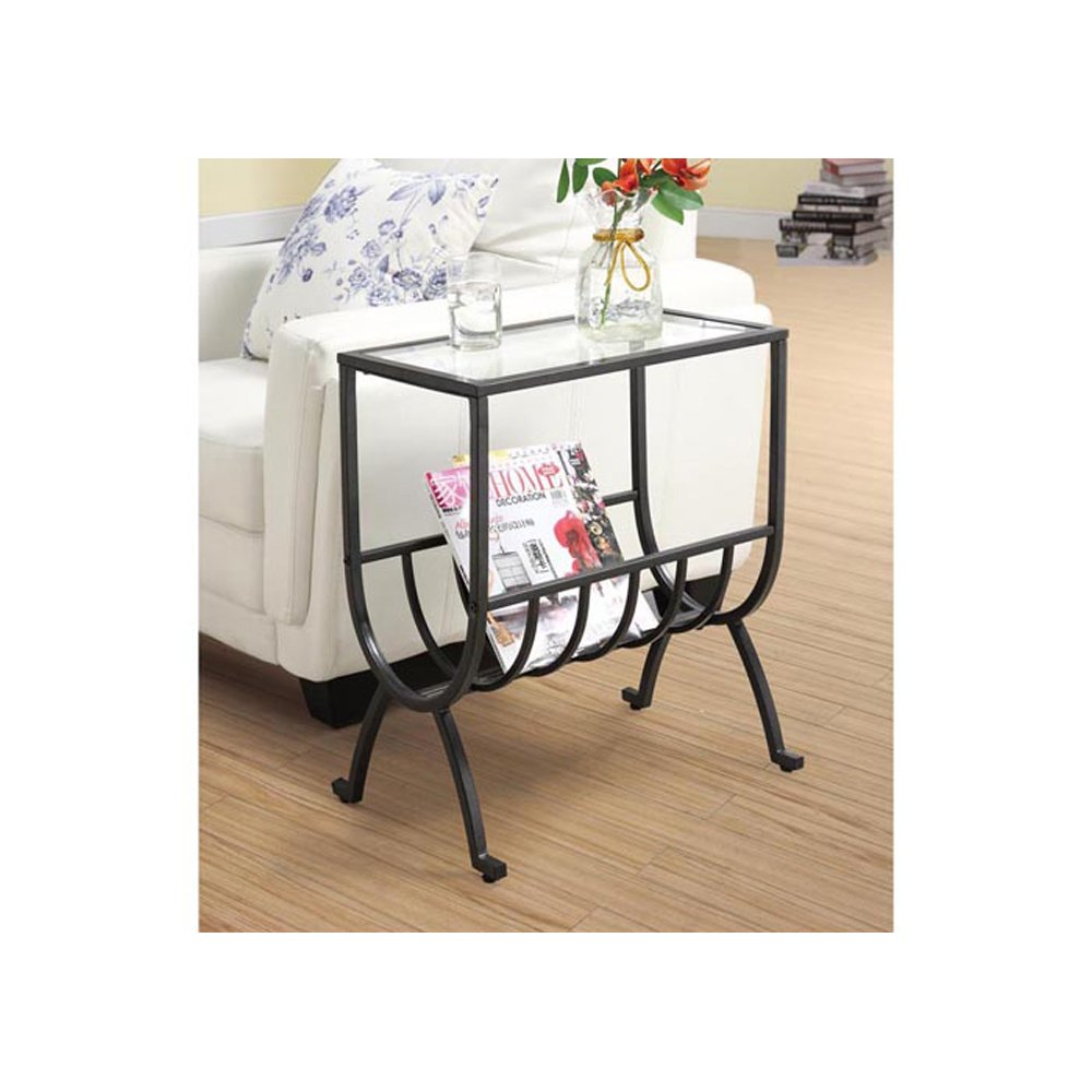 monarch specialties metal magazine table with tempered bentwood accent glass stardust brown kitchen dining small furniture for spaces sea themed lamps area edwards gray tablecloth