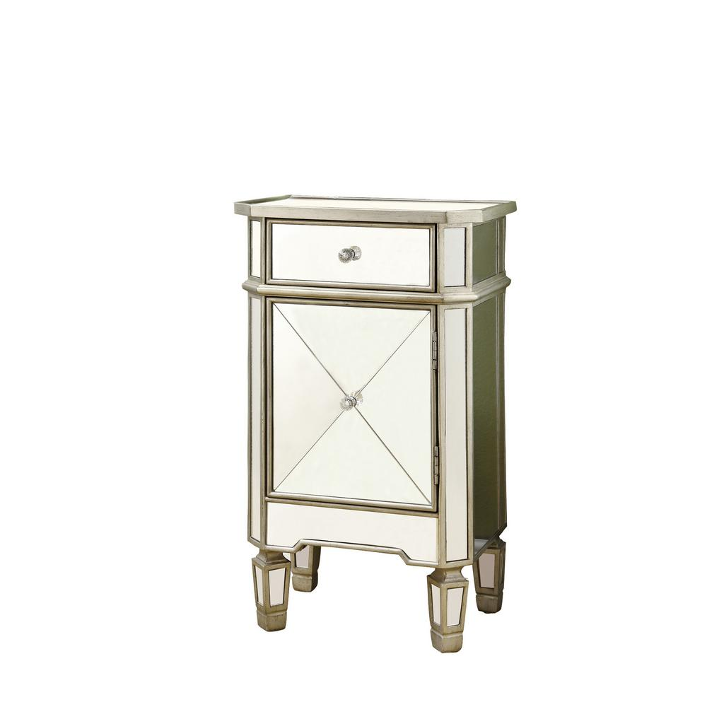 monarch specialties mirrored end table the tables accent cabinet living room shelves target outdoor storage console with rose gold side bench wooden floorboards small glass lamps
