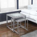 monarch specialties nesting table set grey blue tile top prod accent silver polished concrete coffee barnwood small retro plastic cloth home goods end tables pier one imports 150x150