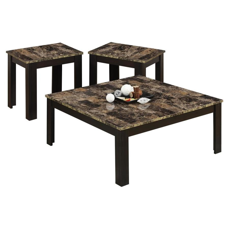 monarch specialties piece cappuccino accent table set top side marble outdoor wicker chairs small furniture teak patio coffee tiffany wall sconce glass nesting tables ashley