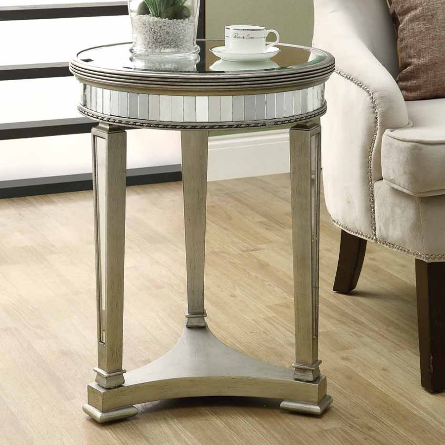 monarch specialties round mirrored accent table slim threshold egg shaped coffee pier dining room narrow couch mosaic patio small half moon barn door ethan allen sectional sofas