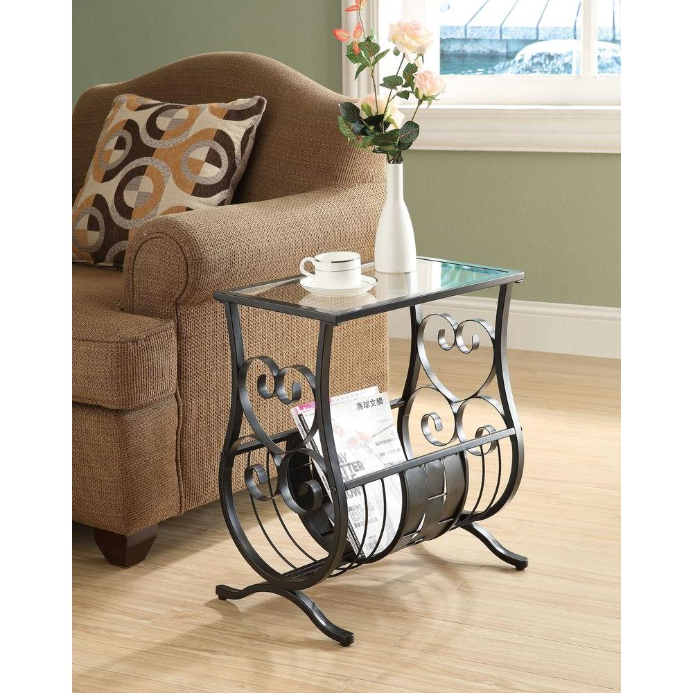 monarch specialties satin black glass top end table the tables metal accent country trestle wrought iron patio side storage cabinet green desk lamp marble coffee and west elm