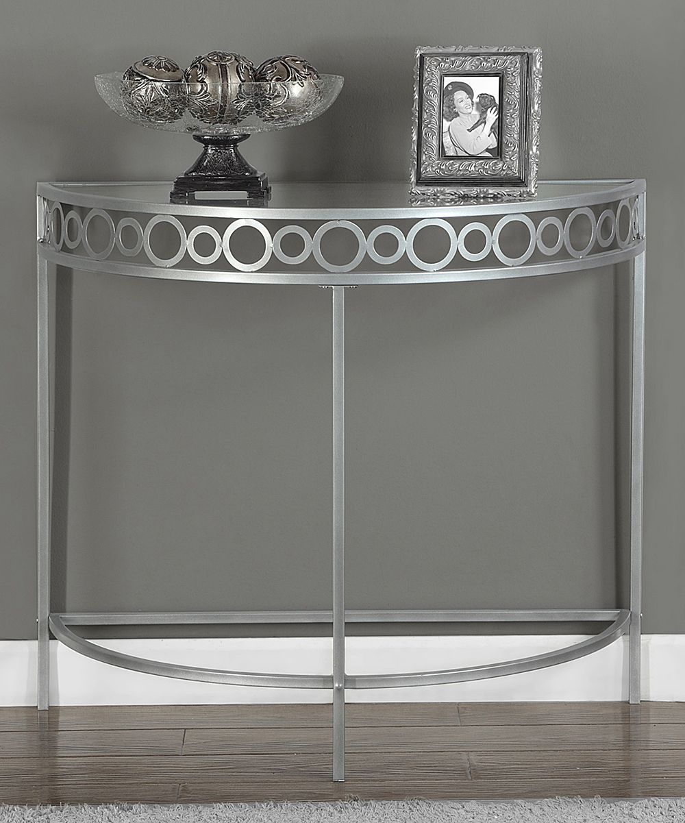 monarch specialties silver circles metal hall console accent table modernize your home with this contemporary chic that features solid hutch oval linens square mirrored coffee