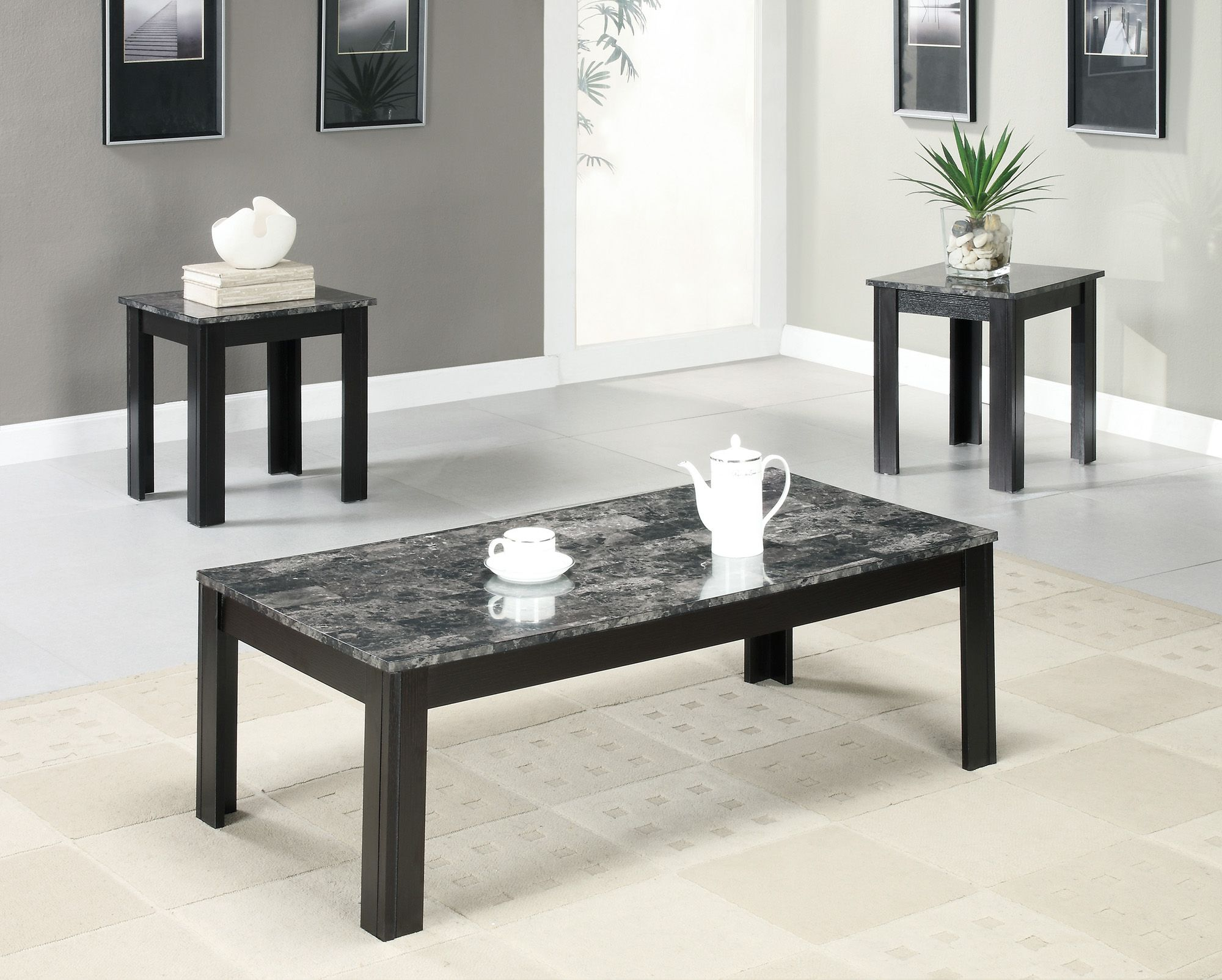 monarch specialties table set black grey marble look spin prod accent top home furniture living room coffee end tables clear chair design classics counter height dining with bench