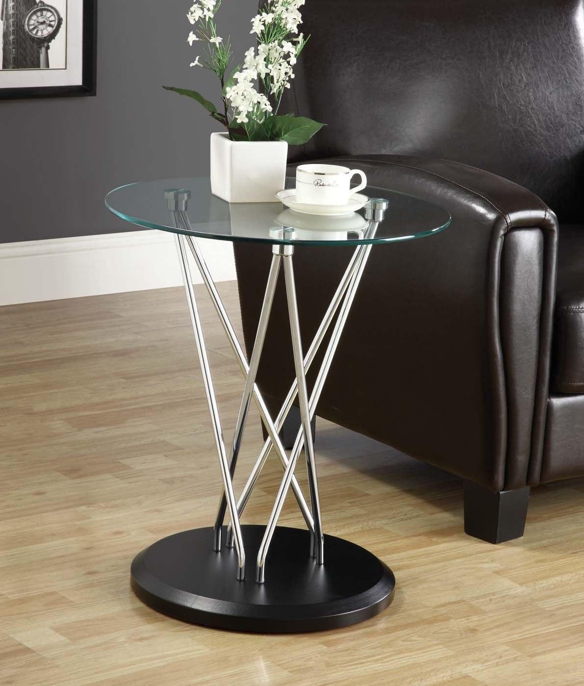 monarch specialties tempered glass top accent table chrome metal bentwood with and black base round patio furniture ashley sectional couch world market end lamps set mosaic garden